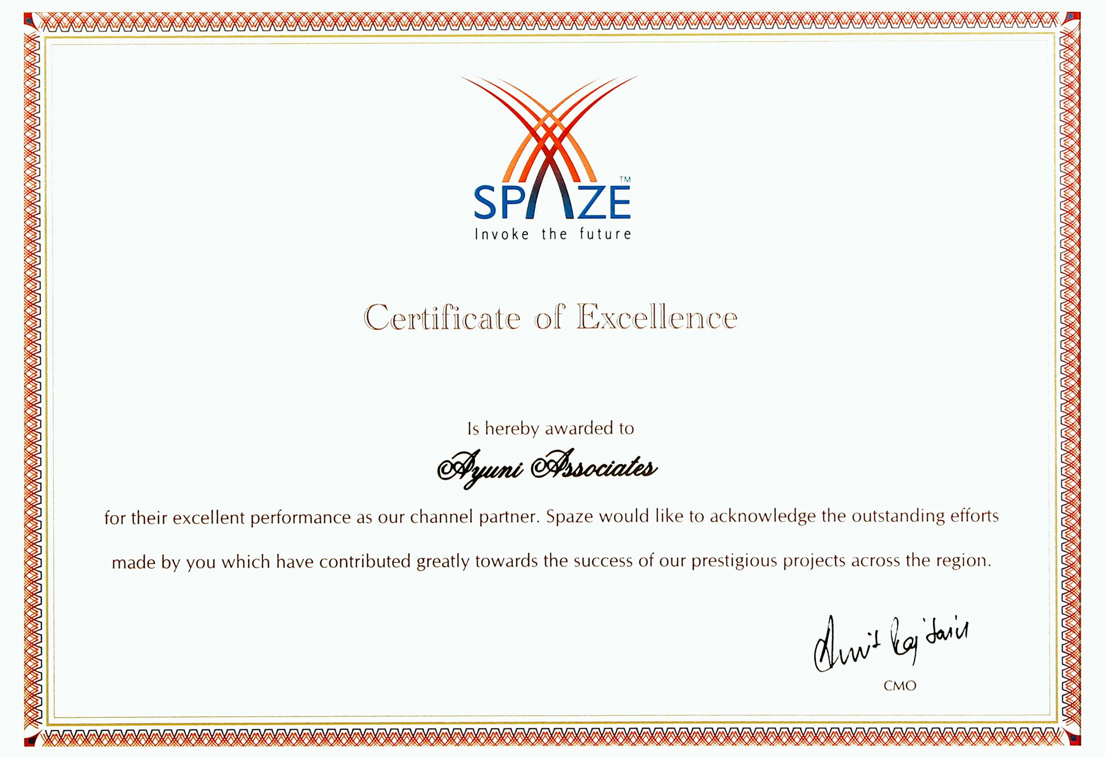 Spaze Group- Certificate of Excellence