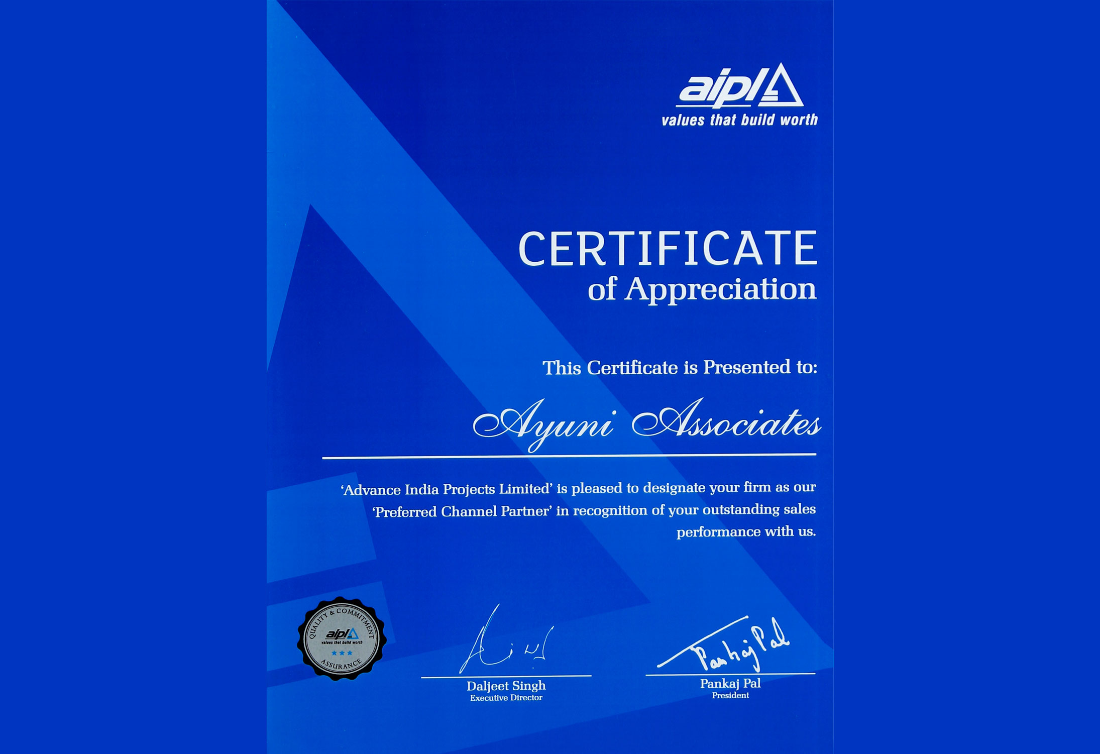 AIPL - Certificate of Appreciation