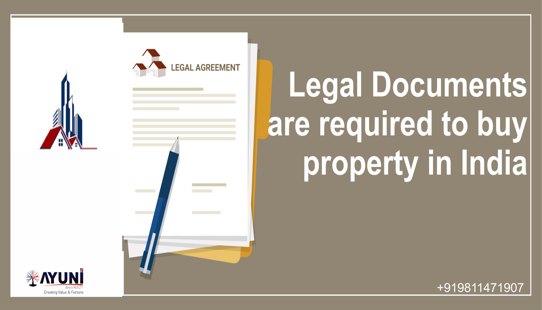 Legal Documents are required to buy property in India